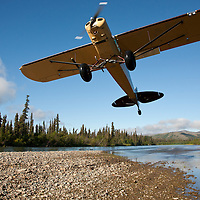 Piper Cub with tundra tires flying near the haedwaters of the Upper Mulchatna River, Western Alaska