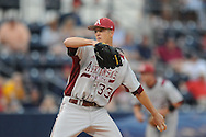 Arkansas' Drew Smyly pitches vs. Mississippi in a college baseball game at Oxford-University Stadium in Oxford, Miss. on Friday, May 7, 2010. Arkansas won 11-4.
