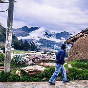 Strade di Chacas Chacas, Ancash, Peru. A group of brave Italian volunteers of the no-profit Italian movement OMG, Operazione Mato Grosso, together with their spiritual leader Father Ugo De Censi, fight against poverty and misery in the villages of the Peruvian Andes since 1967, helping these poor people with their hard work. They gave everything for them, they dedicated their life to them, without never asking anything in return. A great life adventure, based on compassion and love.