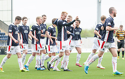 Falkirk's Mark Beck celebrates after scoring their first goal.<br /> Falkirk 3 v 1 Alloa Athletic, Scottish Championship game played today at The Falkirk Stadium.<br /> &copy; Michael Schofield.