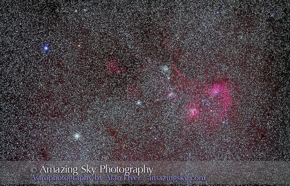 Trio of open clusters in Auriga (left to right): M37, M36 and M38 and nearby nebulosity IC 410 and IC 405, Flaming Star Nebula at right. Small nebula at left is Sharpless 2-231. This is a stack of 5 x 4 minute exposurs with Canon 5D MkII at ISO 800 and Canon 135mm lens at f/2.8. Taken January 6, 2011. Field of view simulated binocular field.