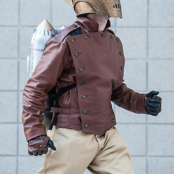 London, UK - 15 March 2014: Paul Malone as the Rocketeer  poses for a picture during the London Super Comic Con at Excel.
