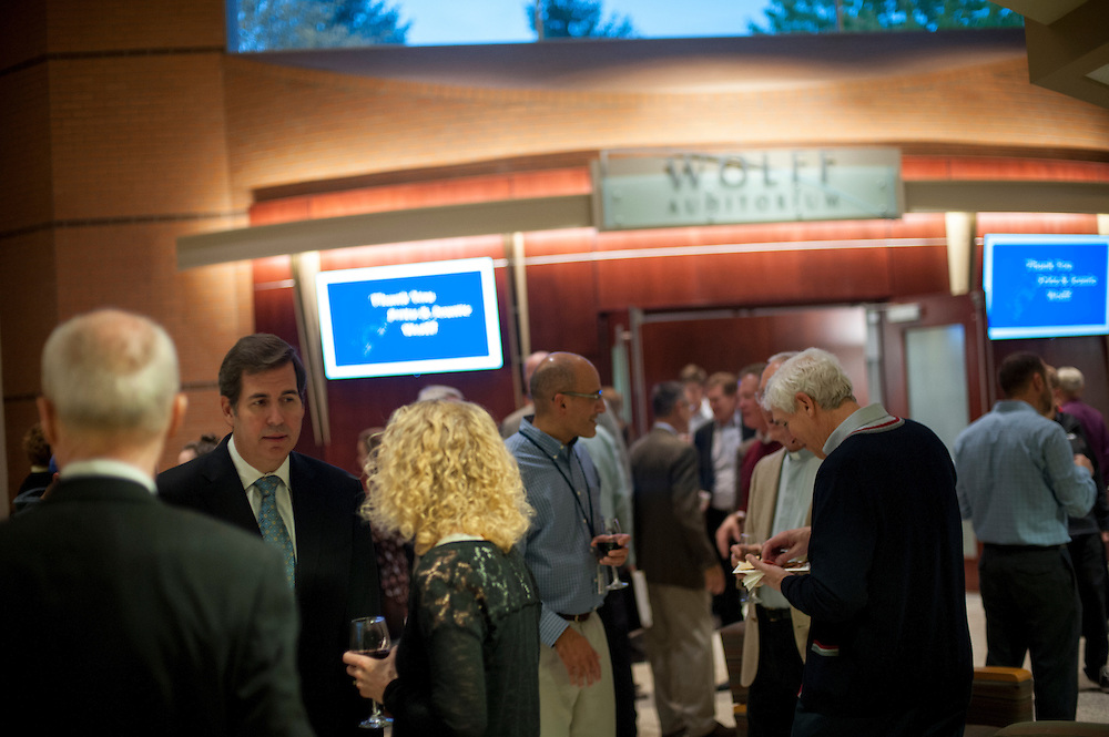 The Wolff Family, President McCulloh, and other attendees gather at the Jepson Center for the Grand Re-opening of the Wolff Auditorium on Oct. 13. (Photo by Gavin Doremus)