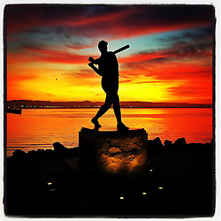 Willie McCovey statue on Opening Day in San Francisco, 2016