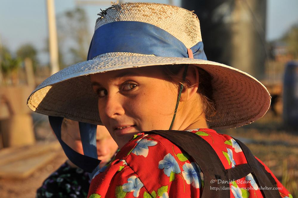 Portrait of Mennonite girl in Santa Cruz, Bolivia