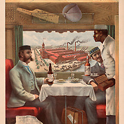 Vintage Illustration:  Pullman compartment cars on trains -- interior of dining cars on the Cincinnati, Hamilton & Dayton R.R.. Print shows two men seated at a table in a dining car on a train being served by an African American porter. CREATED/PUBLISHED: c1894 CREATOR: Strobridge & Co. Lith...