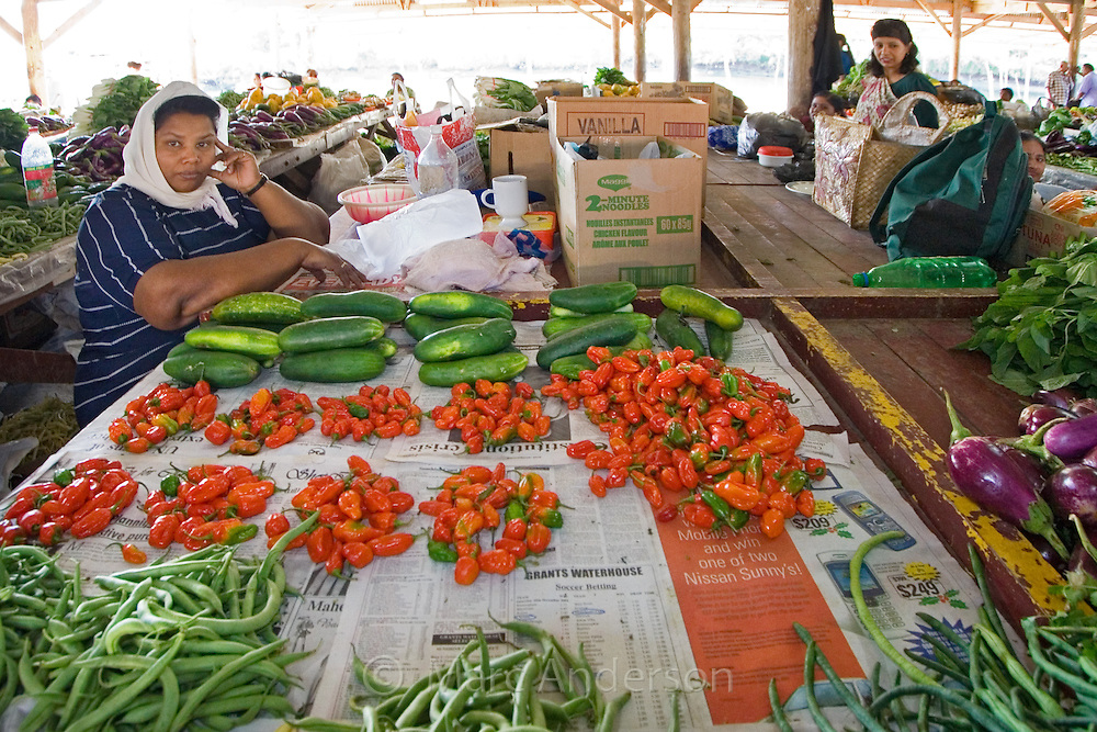 A fresh food and produce market in Vanua Levu, Fiji.