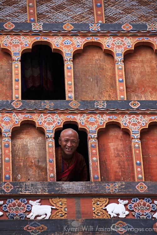 Asia, Bhutan, Trongsa. Monk of Trongsa Dzong.