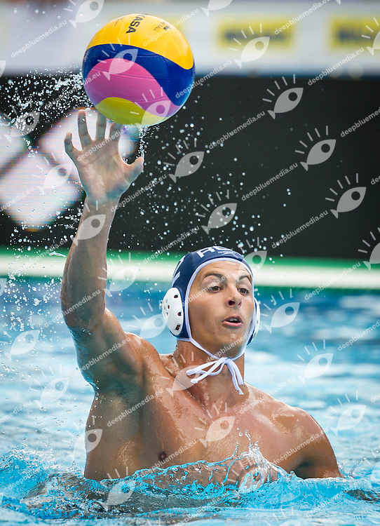 2 RADU Cosmin A. (C) ROU<br /> Spain (White) Vs Romania (Blue) Men<br /> LEN European Water Polo Championships 2014 - July 14-27<br /> Alfred Hajos -Tamas Szechy Swimming Complex<br /> Margitsziget - Margaret Island<br /> Day13 - July 26<br /> Photo Giorgio Scala/Inside/Deepbluemedia