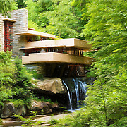 &quot;Fallingwater Painterly 3&quot;<br /> <br /> A lovely digital painting of scenic Fallingwater in Ohiopyle PA.