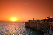 Israel, Western Galilee, the old City of Acre The harbour at sunset