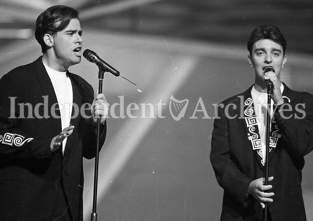Greek Cypriot Contestants in the Eurovision Song Contest Zimboulakis & Van Beke, Cork, 15/05/1993 (Part of the Independent Newspapers Ireland/NLI Collection).
