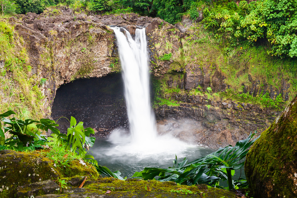 Too early in the day on a too cloudy day for the rainbow at Rainbow Falls on Wailuku River State Park in Hilo, Big Island Hawai'i.