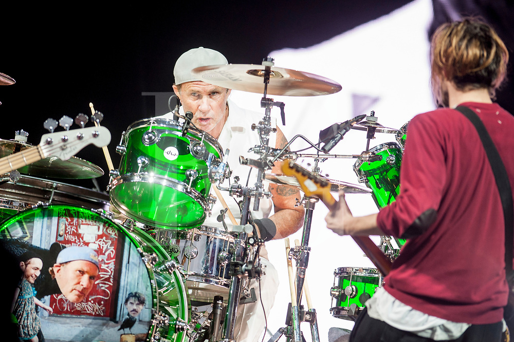 DrummerChad Smith of the Red Hot Chili Peppers headlines the main stage on day 3 of the T in the Park Festival, 10 July, 2016, Scotland.