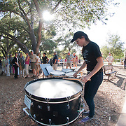 Percussionist Leah Bowden performs in the West Coast premiere of Inuksuit at the 66th Ojai Music Festival on June 7, 2012 in Ojai, California.