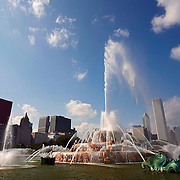 "SHOT 9/7/2007 - Buckingham Fountain in Chicago, Ill. Located in the middle of Grant Park it is one of the world's largest fountains. The fountain was dedicated in 1927 as a gift to the city from Kate Sturges Buckingham in memory of her brother Clarence Buckingham. The fountain runs during warm-weather months with a light and water display from 21:00 to 22:00. Chicago is the largest city in the state of Illinois, the largest in the Midwest and, with a population of nearly 3 million people, is the third largest in the United States. Chicago is a city rich in history and also renowned for its architecture. Chicago attracts about 33 million visitors annually from around the world and nation. Upscale shopping along the Magnificent Mile, thousands of restaurants, as well as Chicago's eminent architecture, continue to draw tourists every year. Includes images from the Shedd Aquarium, the Magnificent Mile and Millenium Park (Including Cloud Gate aka ""The Bean"" and Crown Fountain)..(Photo by Marc Piscotty © 2007)"