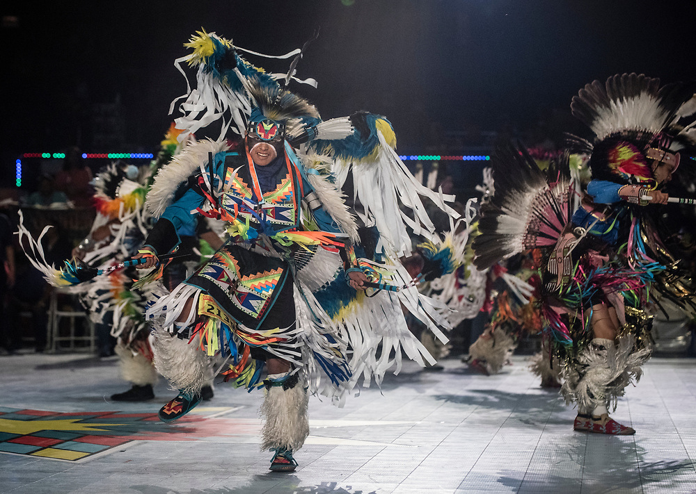 rer042917b/metro/April 29, 2017/Albuquerque Journal<br /> Tristan Joe(Cq) of Kirtland, New Mexico reforms on the dance floor Saturday afternoon at the Gathering of Nations held for the first time at the Expo New Mexico. <br /> Roberto E. Rosales/Albuquerque Journal photo by Roberto E. Rosales