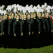 """The MOC- Floyd Valley High School Band stand at attention in Marshall, Mn., awaiting the judges results from the Pursuit of Excellence Field Competition.  The band, from Orange City, finished third behind two bands from Siox Falls, S.D.  """"The success for this band has always been found in doing great things with great people,"""" wrote band director Steve Connell, in his camp handbook last summer."""