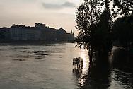 Paris . Flooding . The Seine river  IN Paris city center quai de l hotel de ville
