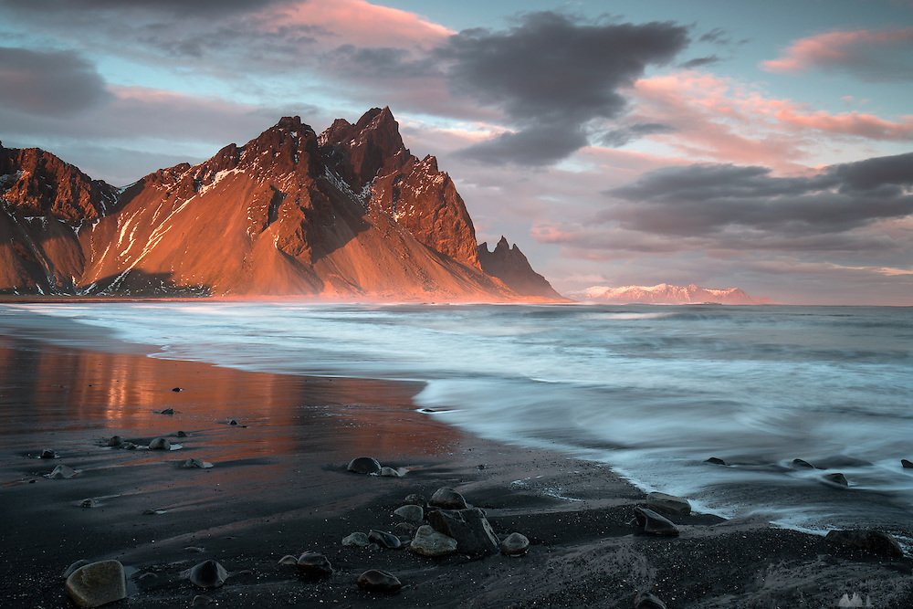 Long exposure of the view of Vesturhorn from Stokksnes, near Höfn in south-east Iceland