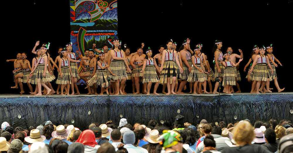 Te Kura Reorua o Waikirikiri of Tai Rawhiti, Gisborne, taking part in the final day of the National primary school Kapa Haka championships at Toll Stadium,Whangarei, New Zealand, Thursday November 10, 2011. Credit:SNPA / Malcolm Pullman