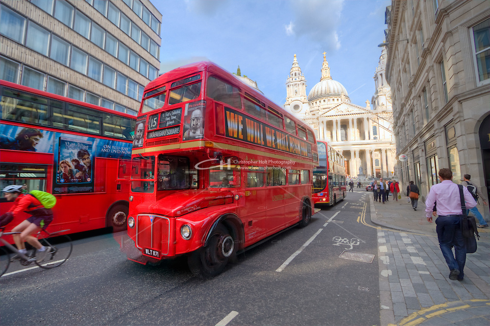 Red London Routemaster bus in London England in April 2011 by Christopher Holt