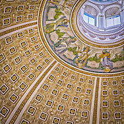 USA, Washington, DC. The ceiling of the main reading room in the Jefferson Building of the Library of Congress.