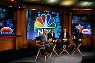 """Former New York Giants running back Tiki Barber(2ndL) sits with NBC President Jeff Zucker(L) , NBC Universal Sports Chairman Dick Eberso(R)l, and NBC News President Steve Capus(2nd R) as he is introduced as a news correspondent for NBC's """"The Today Show"""" at a press conference in New York, February 13, 2007. Barber will also be a sports analysts for NBC's """"Football Night in America""""."""
