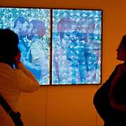 "01/24/2013 - Medford/Somerville, Mass. -  Guests take a closer look at ""God's Best 4, 5, 6"" (2011) by artist Faisa Butt at the opening reception for Illuminated Geographies: Pakistani Miniaturist Practice in the Wake of the Global Turn on Thursday, January 24, 2013. (Alonso Nichols/Tufts University)"