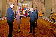 23-1-2014 - ROME - King Willem Alexander and queen Maxima from the Netherlands meet Giorgio Napolitano<br /> Itali&euml;, President during the 1 day visit in Rome Italy. COPYRIGHT ROBIN UTRECHT