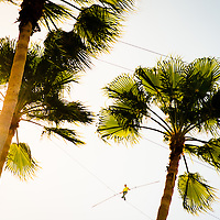 SARASOTA, FL - January 29, 2013 - Nik Wallenda walks a high wire 180 feet off the ground above the Sarasota, Fla., bay front as a stunt to promote Circus Sarasota and entertain almost over 10,000 people who gathered below to watch the feat.  (PHOTO / CHIP LITHERLAND)