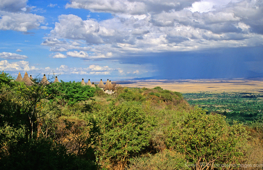 Africa, Tanzania. The rains approaching Lake Manyara Safari Lodge.