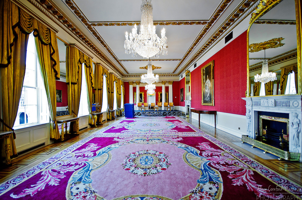 The State Drawing Room in the interior of Dublin Castle.
