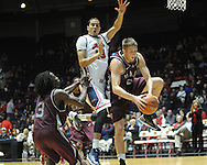 "Ole Miss' Anthony Perez (13) vs. Arkansas Little Rock's Will Neighbour (53) at the C.M. ""Tad"" Smith Coliseum in Oxford, Miss. on Friday, November 16, 2012. Ole Miss won 92-52."