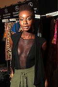 September 6, 2012- New York, New York: Model Aminat Ayende backstage at the 2012 Mercedes-Benz Fashion Week for The ARISE Magazine Icons Fashion Showcase featuring the designs of Ozwald Boateng, Tiffany Amber, Tsemaye Binitie, Maki Oh and Gavin Rajah held at Lincoln Center on September 6, 2012 in New York City. ARISE is Africa's first and foremost international style magazine. Highlighting African achievement in fashion, music, culture and politics, it provides a positive portrayal of the continent and its contribution to contemporary society across the world. (Terrence Jennings)