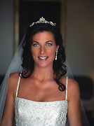 portrait of a beautiful bride with blue eyes and black hair