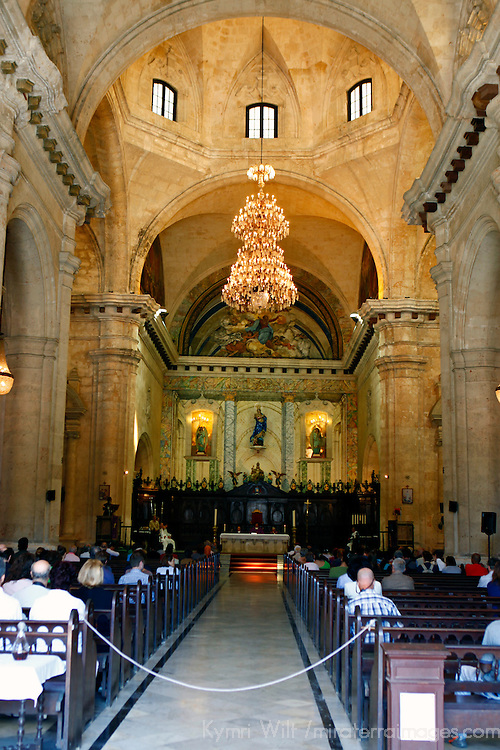 Central America, Cuba, Havana. The Cathedral of Havana interior.