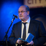 Salman Rushdie at the 'Still Waters in a Storm' benefit at The City Winery NYC. <br /> <br /> Still Waters in a Storm is a free school for children in the neighborhood of Bushwick, Brooklyn.Volunteers offer homework help and classes in reading, writing, violin, music composition, yoga and Latin, all free of charge to low-income families in the neighborhood.