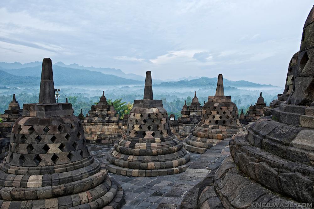 Sunrise a the ancient Buddhist temple, Borobudur.