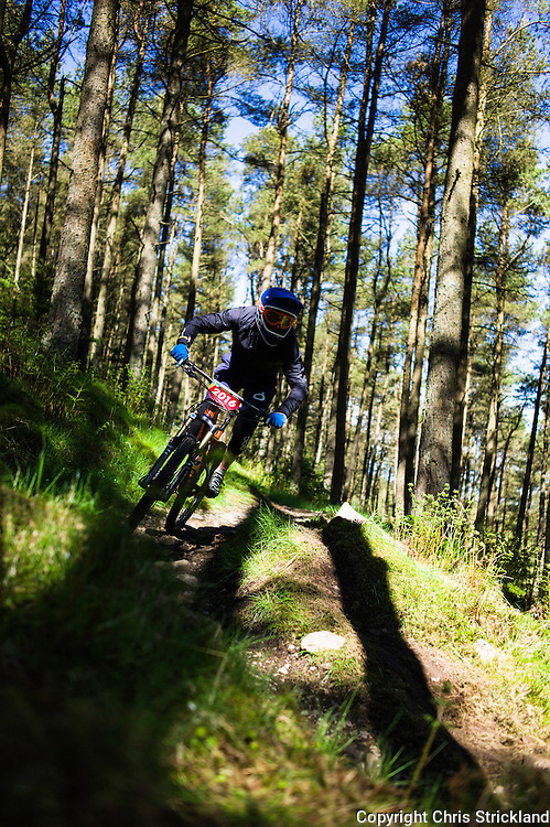 Innerleithen, Tweed Valley, Scotland, UK. 30th May 2015. Matteo Planchon in action at The Enduro World Series Round 3 taking place on the iconic 7Stanes trails during Tweedlove Festival. Mountain bikers come up against eight stages across two days, with an intense 2,695 metres of climbing over 93km. As well as the physicality of the liaisons, the stages themselves are technical, catching many off guard. ©