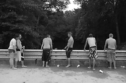 Teenagers on a bridge in South Carolina during the summer