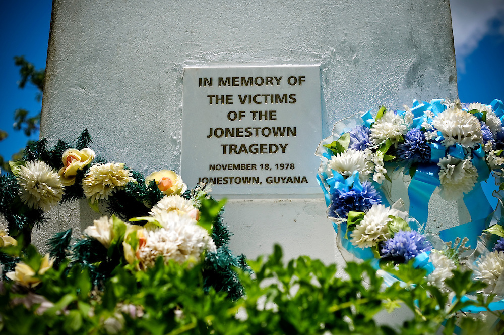 A memorial plaque at the site where Jonestown, Jim Jones' socialist commune in northwestern Guyana once existed. 918 people died in a mass suicide there on November 18, 1978, considered the second-largest single loss of American civilian life in a non-natural disaster other than that of September 11, 2001. The majority of the commune's buildings were bulldozed by the government of Guyana for security reasons, and the surrounding jungle has grown over where the buildings once stood. Tourism officials in Guyana are making plans to turn Jonestown into a tourism attraction.