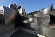 A view of most of the titanium sections of the Guggenheim Museum in Bilbao