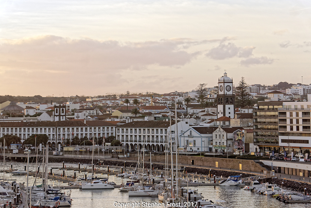 Harbour at  Ponta Delgada on the island of Sao Miguel, Azores, Atlantic Ocean, in soft evening light