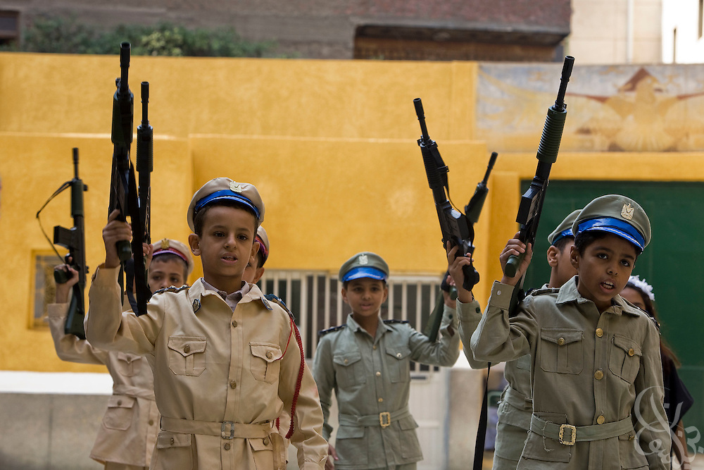 Children perform in a celebration program at the school for poor children founded more than 30 years ago by the famous French nun, Sister Emanuel in the Manshiyet Nasser district of the Egyptian capital, Cairo October 16, 2008. The school now provides an education to more than 1200 students from the surrounding slums which are a large garbage collection district.