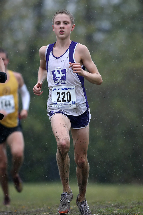 (Kingston, ON---25 October 2008) Jeff Dill of WESTERN ONTARIO University running to finish 34 in the 2008 Ontario University Athletics men's cross country championship.  Photograph copyright Sean Burges/Mundo Sport Images (www.msievents.com).