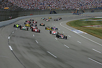 Danica Patrick leads at the start at the Kentucky Speedway, Kentucky Indy 300, August 14, 2005