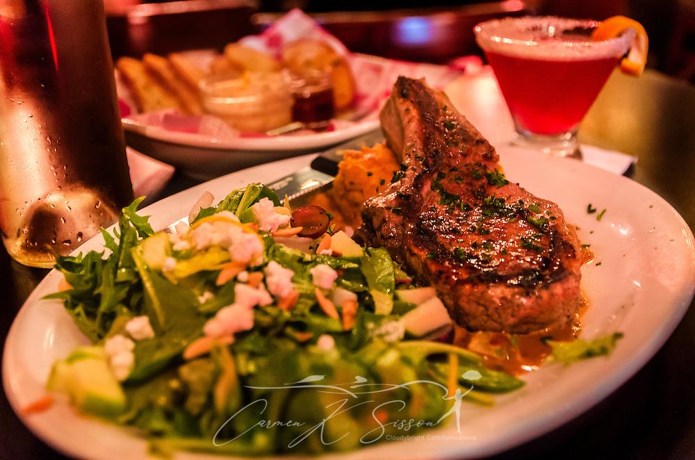 Bone in pork chop at five bar restaurant in tuscaloosa for Food bar tuscaloosa