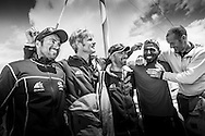The Sevenstar Round Britain Race 2014. Musandam-Oman Sail MOD70 Trimaran sets a new world record and finishes the race in 3days 3hours 32minutes 36 seconds. Beating the current record by 16 minutes. Skippered by Sidney Gavignet (FRA) and team mates Yassir Al Rahbi (OMA), Sami Al Shukaili (OMA), Fahad Al Hasni (OMA), Jan Dekker (SA), and co-skipper Damian Foxall (IRL)<br /> Credit - Lloyd Images