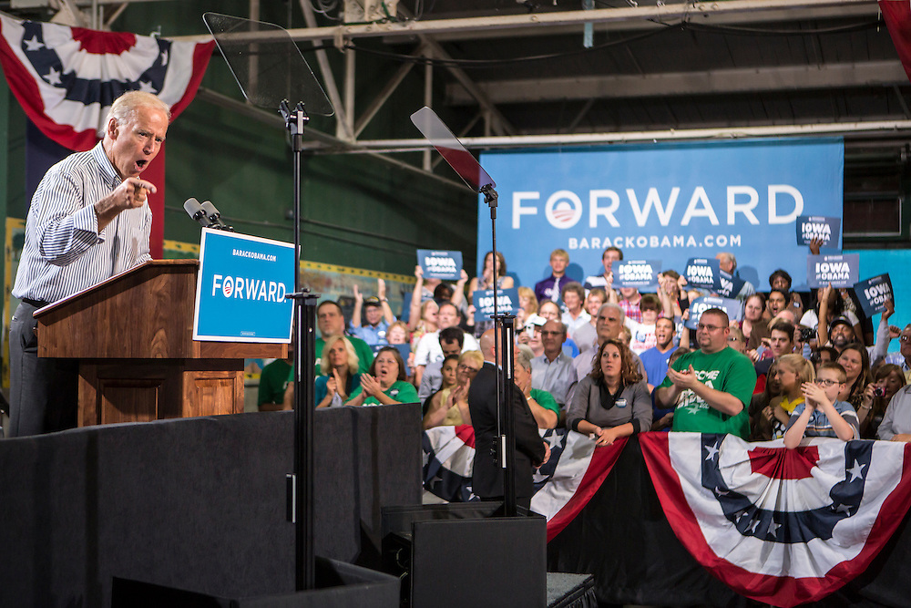 Vice President Joe Biden speaks at a campaign rally at the Port of Burlington during a two-day campaign swing through Iowa on Monday, September 17, 2012 in Burlington, IA.